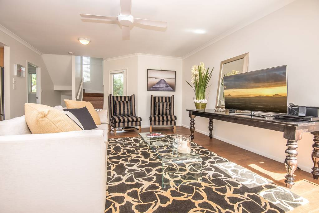The living room of a stylish house on Gympie Terrace