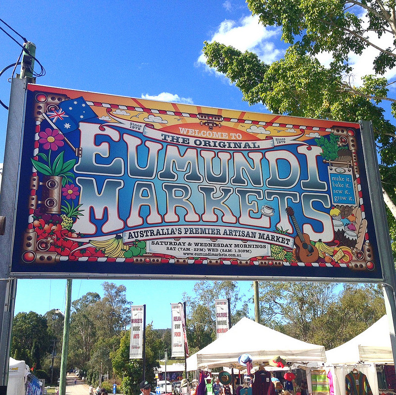 A sign of the world famous Eumundi markets