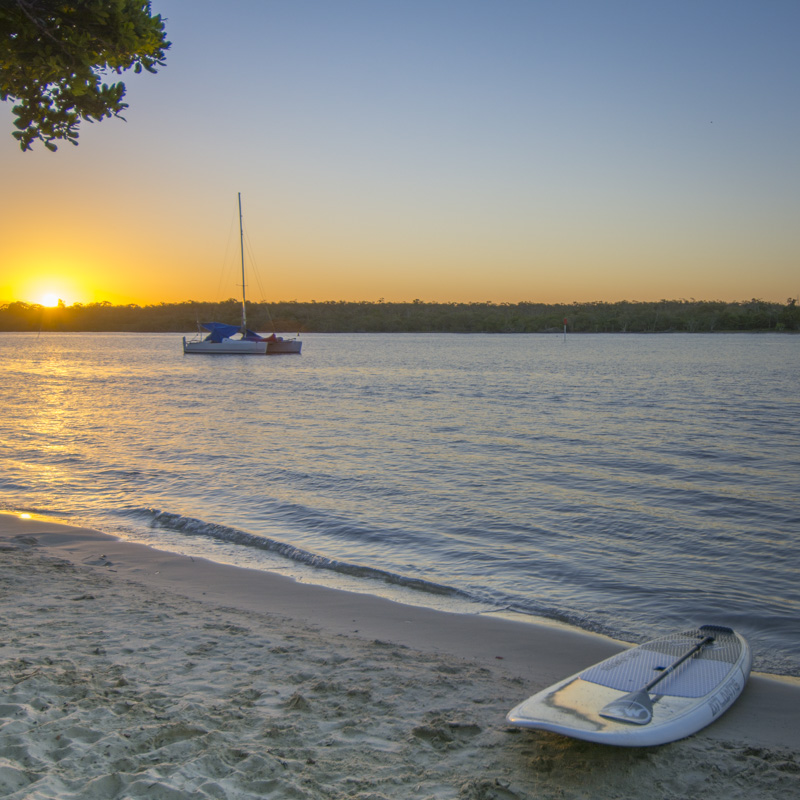 Sunset over the Noosa River on Gympie Terrace