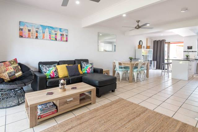 The living room of an airbnb property in Queensland