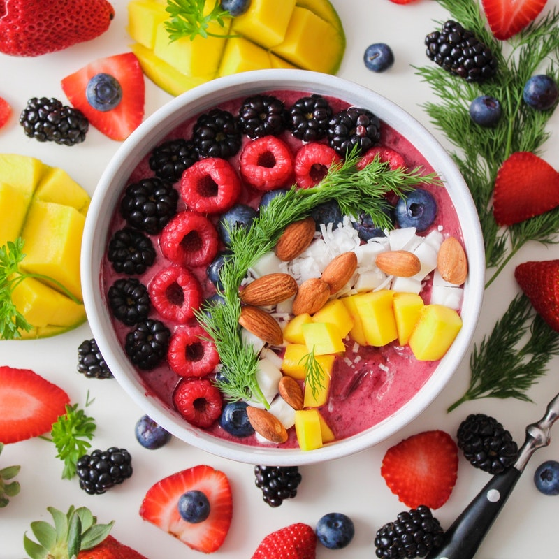 Colorful bowl of fruit served up in a Noosa restaurant